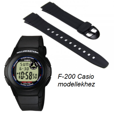 F-200 Casio fekete műanyag szíj