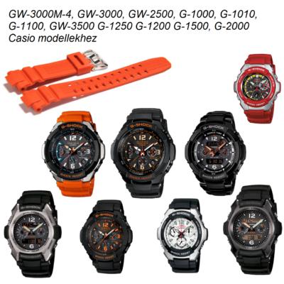 GW-3000M-4, GW-3000, GW-2500, G-1000, G-1010, G-1100, GW-3500 G-1250 G-1200 G-1500, G-2000 Casio narancssárga műanyag szíj