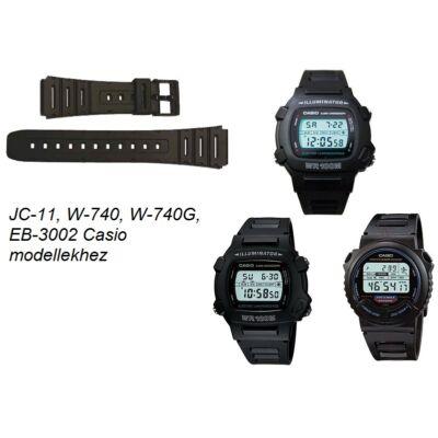 JC-11 W-740 W-740G EB-3002 Casio fekete műanyag szíj