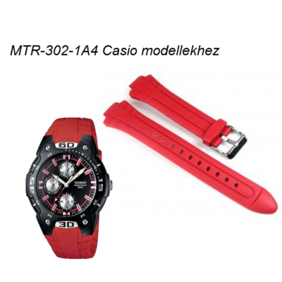MTR-302-4 Casio piros műanyag szíj