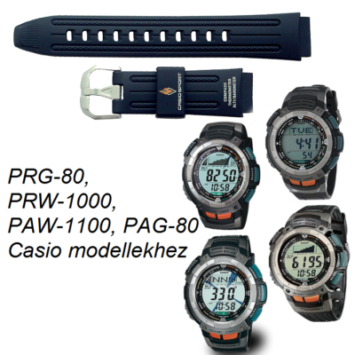 PRG-80 PRW-1000 PAW-1100 PAG-80 Casio fekete műanyag szíj