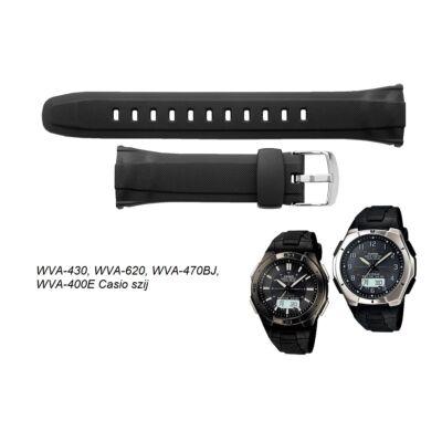 WVA-430 WVA-620 WVA-470BJ WVA-400E Casio fekete műanyag szíj