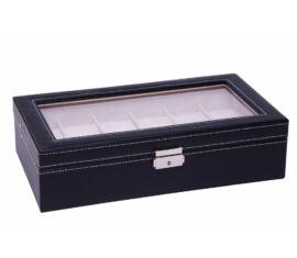 933 Fekete bőr óratartó doboz 12 db órához