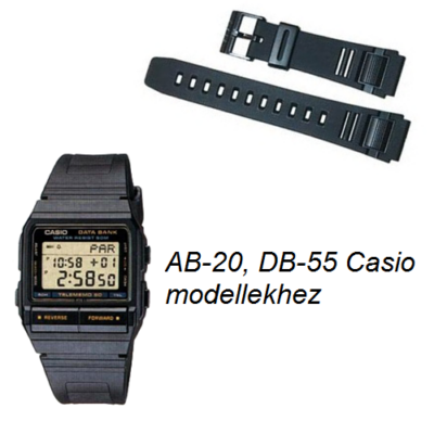 AB-20 DB-55 Casio fekete műanyag szíj