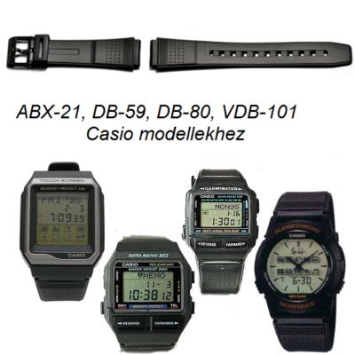 ABX-21, DB-59, DB-80, DB-101 Casio fekete műanyag szíj