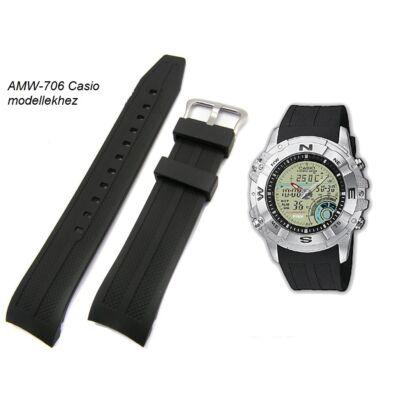 AMW-706 Casio fekete műanyag szíj