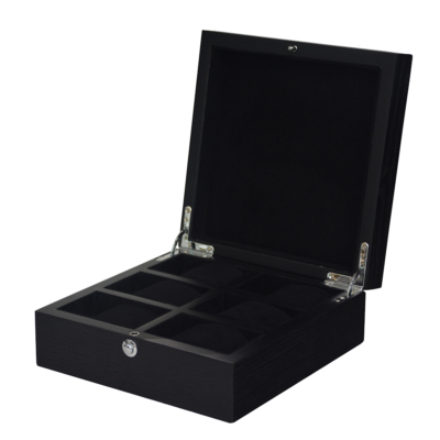 GC02-SP-06Z Fekete fa óratartó doboz 6 db órához