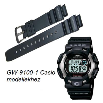 GW-9100-1 Casio fekete műanyag szíj