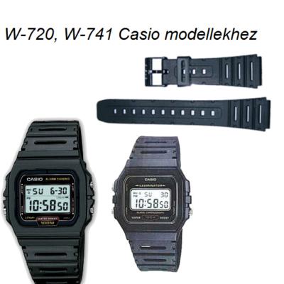 W-720 W-741 CA-53 CA-61 FT-100 W-520  Casio fekete műanyag szíj
