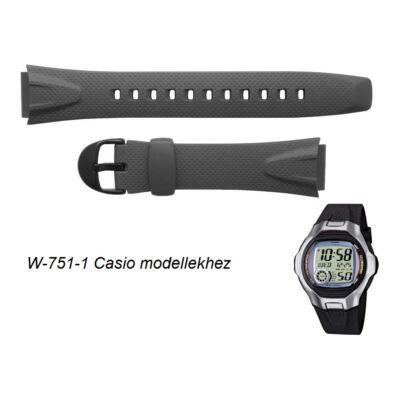 W-751-1 Casio fekete műanyag szíj