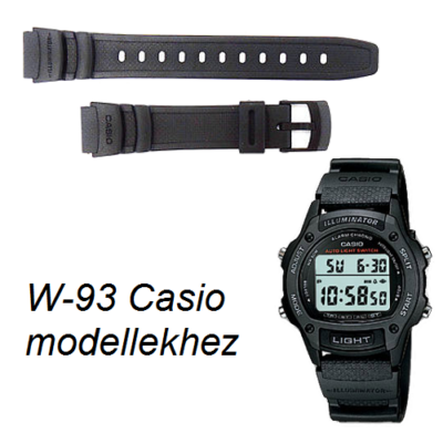 W-93 Casio fekete műanyag szíj