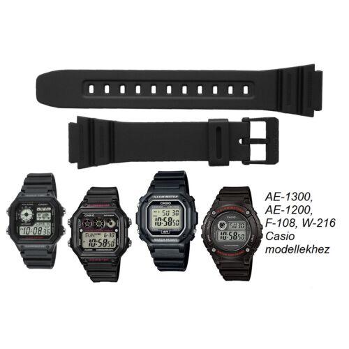 AE-1300 AE-1200 F-108 W-216 Casio fekete műanyag szíj